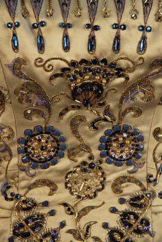 """Palmyre"" Detail c.a. 1952,  Medium: silk, rhinestones, pearls, silver metallic thread, sequins, semi-precious stones"