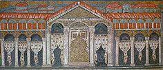 Basilica di Sant'Apollinare Nuovo, dettaglio della decorazione musiva inferiore destra raffigurante il palazzo di Teodorico, ca 568. Ravenna