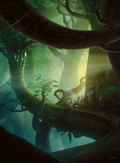 Illustration tree Elf painting mypost forest fantasy treehouse digital art fantasy art elven woodelf john avon elven village