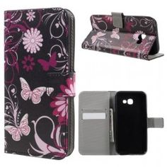 Samsung Galaxy Edge Plus - Pung PU Læder Stand Cover - Lilla Sommerfugle Samsung Galaxy S 8, Galaxy A5, Sony Xperia, Compact, Smartphone, Alcatel One Touch, Card Patterns, Leather Wallet, Pu Leather