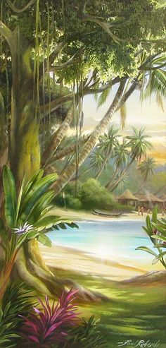"Portal to Paradise (my name for this piece) ""Sneak Peak"" Giclee on Canvas by Roberts. Watercolor Landscape, Landscape Art, Landscape Paintings, Seascape Paintings, Mural Painting, Tiki Art, Hawaiian Art, Tropical Art, Surf Art"