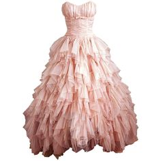 Adorablet's Photo ❤ liked on Polyvore featuring dresses, gowns, vestidos, long dresses, pink dress, pink ball gown, pink gown y pink evening dress