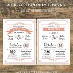 Marvelous Coral DIY Reception Only Invitation | Ahandcraftedwedding #wedding  #printables