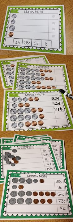 This is a set of 12 touch point coin counting mats to provide students practice with learning to count coins. Each mat offers 5 coin counting tasks. | by Traci Bender - The Bender Bunch