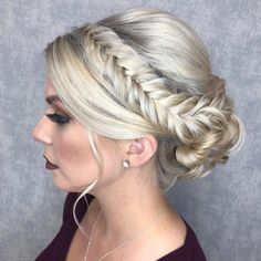 Lovely Braided Updo 23 Cute Prom Hairstyles for 2019 - Updos, Braids, Half Ups & Down Dos Cute Prom Hairstyles, Easy Updo Hairstyles, Short Hair Updo, Trending Hairstyles, Bride Hairstyles, Curly Hair Styles, Dance Hairstyles, Teen Hairstyles, Hairstyle Ideas