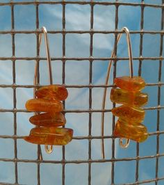 Long AMBER Earrings Sterling Silver Minimalist Hook by YLOjewelry