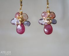Ruby Sapphire Tourmaline and Amethyst Flower by ATELIERGabyMarcos, $89.00