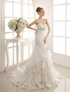 Tesoro sirena a più livelli abito da sposa con bordare Sash & fiocco Decor - Milanoo.com