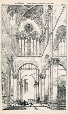 1872 architectural plate of the interior of the Lucca Cathedral in Italy. This +137-year-old plate, part of a portfolio of richly detailed architectural drawings by renowned Victorian architect Richard Norman Shaw, is in very good condition.