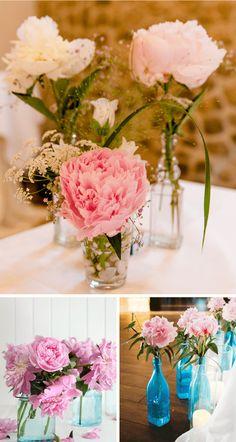 40 Ideen für eine Hochzeit mit Pfingstrosen - Hochzeitskiste Glass Vase, Table Decorations, Flowers, Armin, Wedding, Pink, Small Wedding Bouquets, Bouquet Wedding, Civil Wedding