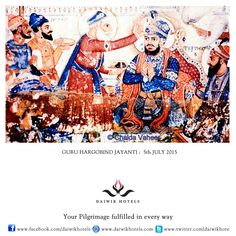 GURU HARGOBIND JAYANTI. 5TH JULY 2015. Guru Hargobind was the sixth guru of the Sikhs and the son of Guru Arjan Dev. On this day in 1606 he became a guru at the tender age of eleven and the occasion is called gurgaddi divas. Guru Hargobind was a soldier-saint who began the tradition of the Sikhs as a martial people inspiring them to do heroic deed. He always carried two swords symbolising power (shakti) and prayer (bhakti). Guru Hargobind, Guru Arjan, Festivals Of India, Pilgrimage, Swords, Martial, Divas, How To Become, Prayers