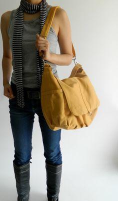 Daniel in mustard - canvas - zipper closure / Shoulder bag / Cross Body Messenger (Etsy)