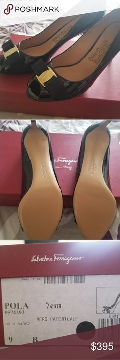 Ferragamo Peep Toe Pumpe Black, ferragamo, peep toe pumps. Never been worn. Bought it for my mom and it didn't fit her. Heel is low with a peep toe. Very comfy Salvatore Ferragamo Shoes Heels