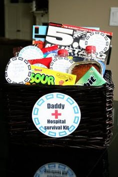 Hospital Goody Bag for Dad  I made this up for a month before our due date.  reminder to do it again