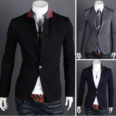 Men 's Casual Blazer with Red Detail