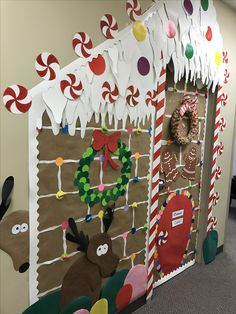 gingerbread house door for work for school made from paper and candy