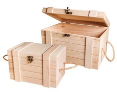 woodworking - 2 Premium Wooden Storage Chests with Metal Clasps & Rope Handles Diy Wooden Projects, Small Wood Projects, Woodworking Projects Diy, Wooden Diy, Wood Crafts, Wooden Storage Boxes, Wooden Crates, Craft Storage, Wood Boxes