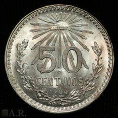 1944 MEXICO 50 Centavos Silver GEM BU Gold Money, World Coins, Area 51, Rare Coins, Silver Bars, Coin Collecting, Gold Leather, Silver Coins, Laughter