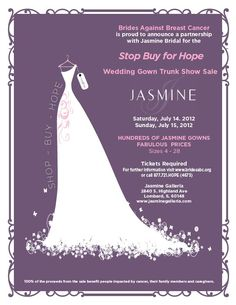 @Jasmine Bridal & @BABCTour are teaming up this weekend in Chicago at the Jasmine Galleria for the Jasmine Trunk Sale!! Find a beautiful gown and help those impacted by cancer!!