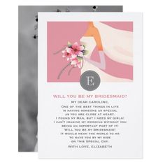 Will you be my Bridesmaid? Elegant Pink, White & Grey Modern Bride Silhouette design Customizable Bridesmaid to be Request Flat Photo Cards. Invite your friends to be your Bridesmaids by a very special way. Matching Wedding Invitation Cards, Save the Date cards, Wedding Postage Stamps, Thank You Cards and other Wedding Stationery and Wedding Gift Products available in the Modern Design Category of the Best Day Ever store at zazzle.com