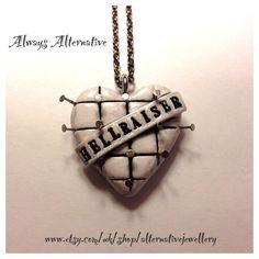 Hellraiser Pinhead Horror Heart Necklace by AlternativeJewellery