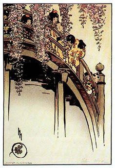 Moon Bridge at Kameido  by Helen Hyde, 1914