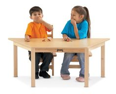 MultiPurpose Trapezoid Table  14 High  White  School  Play Furniture *** Click on the image for additional details.