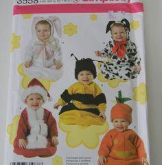 SIMPLICITY Baby Dog Bunny Pumpkin Santa COSTUME PATTERN 1 18 MONTHS XXS L 3558