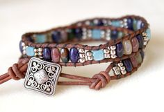 Mixed Jasper and Amazonite Bohemian beaded leather by OlenaDesigns