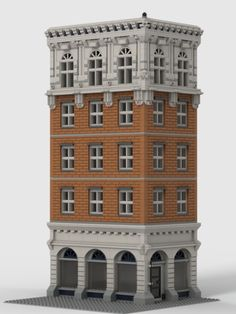 I felt like making an old brick building. A lot of my inspiration comes from the brick buildings in New York and Chicago. There are not a lot of tricky building techniques, mostly just regular bricks and a bit of studs on side building.