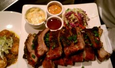 Soulful American- want to try the shrimp n grits and the maple short ribs.