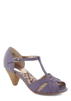 Found My Way Heel in Lavender by Seychelles - Mid, Leather, Purple, Solid, Cutout, Peep Toe, Variation, Wedding, Party, Daytime Party, Vintage Inspired, 40s