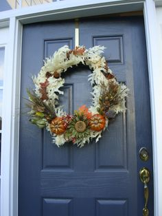 Fall Wreath with Pumpkins and Oak Leaves  by WreathsByRebeccaB, $65.00