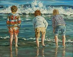 """Brittas Boys"" Oil on Canvas Board. x Art by Robert Teeling Orange Art, Yellow Art, Pink Art, Pastel Art, Blue Art, Cream Art, Brown Art, Irish Art, Canvas Board"