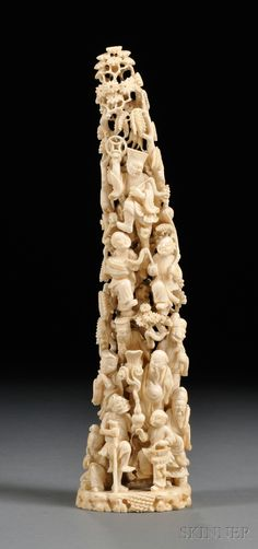 Ivory Tusk Carving, China, 19th century, slight crescent shape, carved and pierced with the Immortals and attendants in a mountainous landscape, ht. 11 1/2 in.