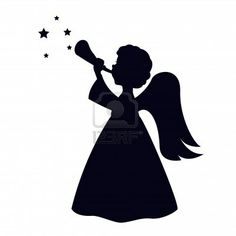 silhouette: Christmas angel isolated on white background Angel Silhouette, Silhouette Portrait, Silhouette Images, Silhouette Vector, Silhouette Design, Christmas Images, Christmas Angels, Photo Ange, Free Angel