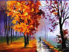 This is an oil painting on canvas by Leonid Afremov made using a palette knife only. You can view and purchase this painting here - afremov. Lilac Fog by Leonid Afremov Oil Painting On Canvas, Abstract Paintings, Original Paintings, Oil Paintings, Knife Painting, Painting Art, Forest Painting, Painting People, Abstract Oil