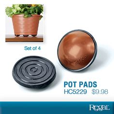 """POT PADS (SET OF 4) From Regal  Give your plants a needed lift...and make deck care a breeze! Just place these handy, sturdy risers underneath any potted plant to raise 1/2"""" above wood deck, patio or floor. Allows for better air and water circulation and easier cleaning under and around pots. Also makes moving heavy planters easy without marring surfaces. Holds up to 3,000 lbs. Weather-resistant rubber and plastic construction won't rust, rot or disintegrate. 2""""Diam. ea.  Product Number…"""