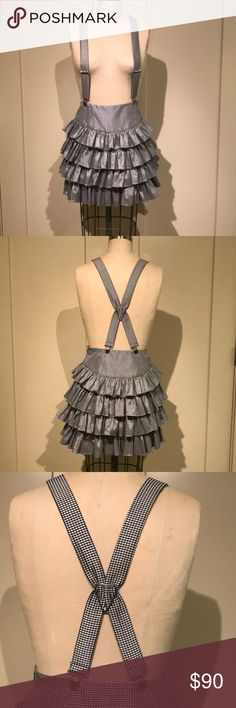 Betsy Johnson Suspender Ruffle Skirt Cute gingham print, fitted at waist, four tiers of ruffles. Betsey Johnson Skirts A-Line or Full