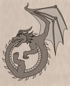 This one has all the features I like, basically: four legs and two wings; clear delineation between belly and back; western-looking design. The design is too cartoony, the dragon needs scales, and I don't want the wings unfurled.