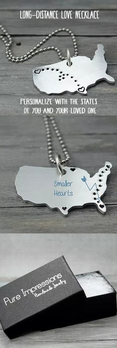 These charming necklaces are stamped with hearts and tiny dots connecting them together. They're perfect for military families, kids away from home, long distance relationships and even sending your 'babies' back to school. Pure Impressions creates its hand stamped jewelry and inspiration jewelry one at a time.