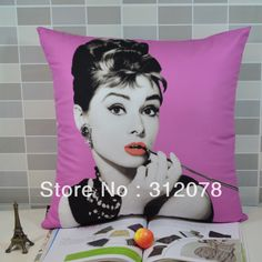 Fashion Sofa Audrey Hepbum Digital Printing Cushion Cover Pillow Case Throw Pillow Case 45*45CM