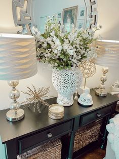 Easily decorate your console table in different ways.
