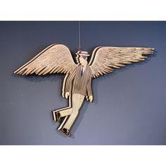 """Yannis Gaitis  (1923-1984) """"Angel""""  Painted construction on wood.  Similar  on """"Yiannis Gaitis Catalogue raisonné"""", no 1591. Dimensions: 109X67 cm"""