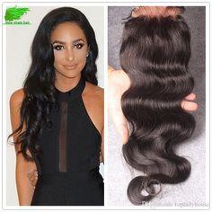 Brazilian Human Hair Body Wave With Closure Human Hair With Closure… Silk Hair, French Lace, Lace Closure, Body Wave, 4x4, Black Women, Curly, High Neck Dress, Long Hair Styles
