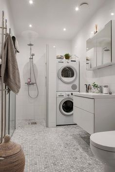 Laundry Room And Bathroom Combo Designs Small Laundry Bathroom Decor Small Laundry Bathroom Design Small Bathroom Laundry Room Combo Ideas Laundry Bathroom Combo, Basement Laundry, Small Laundry Rooms, Tiny House Bathroom, Laundry Room Design, Downstairs Bathroom, Small Bathrooms, Bathroom Storage, Small Bathroom Layout