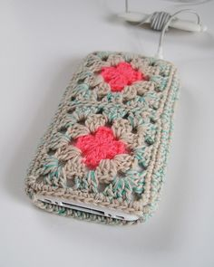 granny-square crocheted iphone case