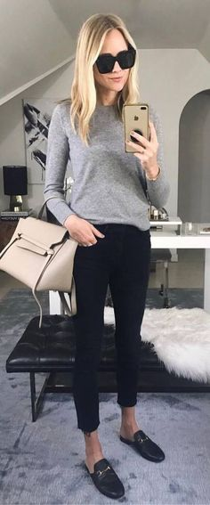 Fall Casual Style Addict Grey Sweater Plus Bag Plus Skinnies Plus Loafers