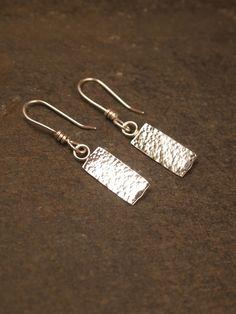 Rectangular Sterling Silver Hammered Drop Earrings £18.00
