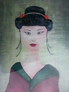 Donna giapponese su carta, in plexiglass